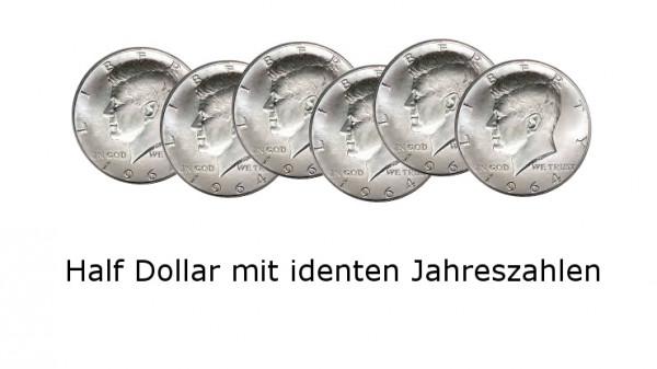 Half Dollar 6 Münzen Ungimmicked Gleiche Jahreszahlen